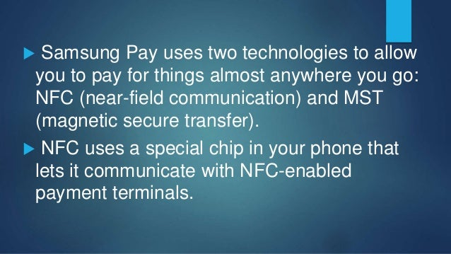  To use Apple Pay, you place your phone next to a participating retailer's NFC-enabled payment terminal.  Your iPhone wi...
