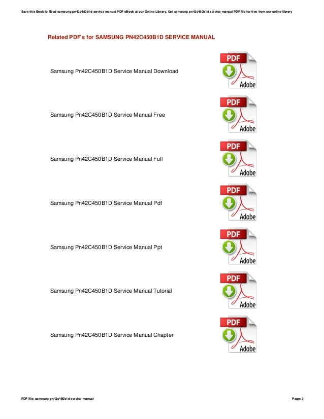 Samsung pn42c450b1d service manual