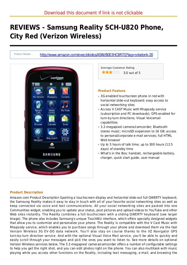 Download this document if link is not clickableREVIEWS - Samsung Reality SCH-U820 Phone,City Red (Verizon Wireless)Product...