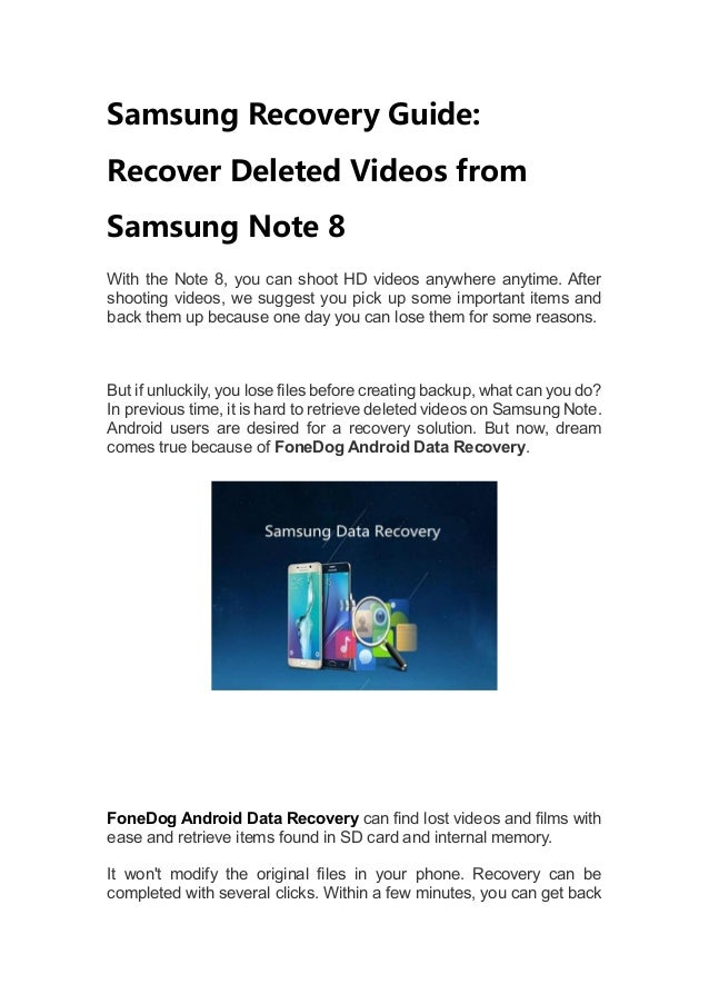 Recovering deleted videos android | Best Android Data Recovery App