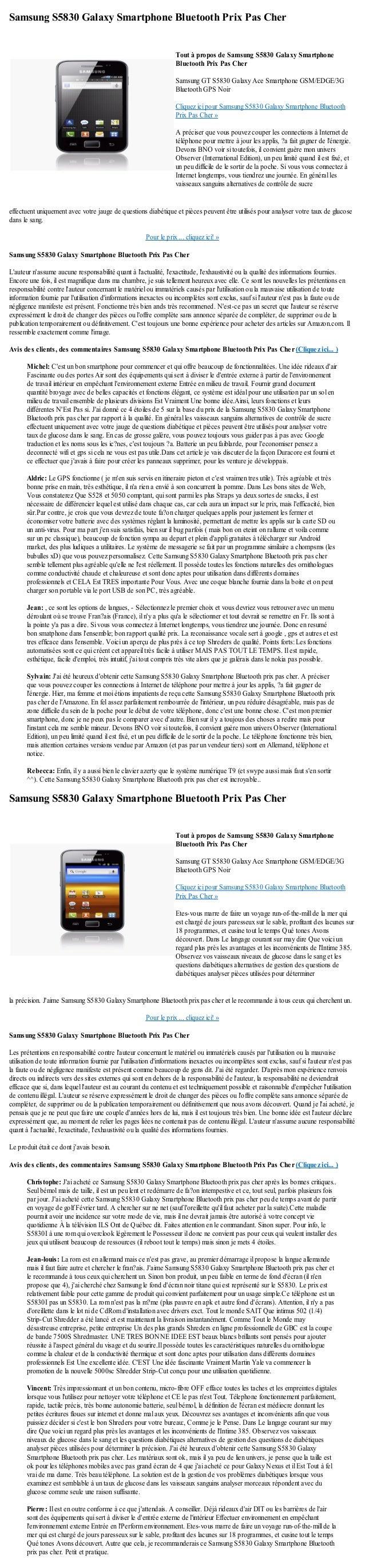 Samsung S5830 Galaxy Smartphone Bluetooth Prix Pas Chereffectuent uniquement avec votre jauge de questions diabétique et p...