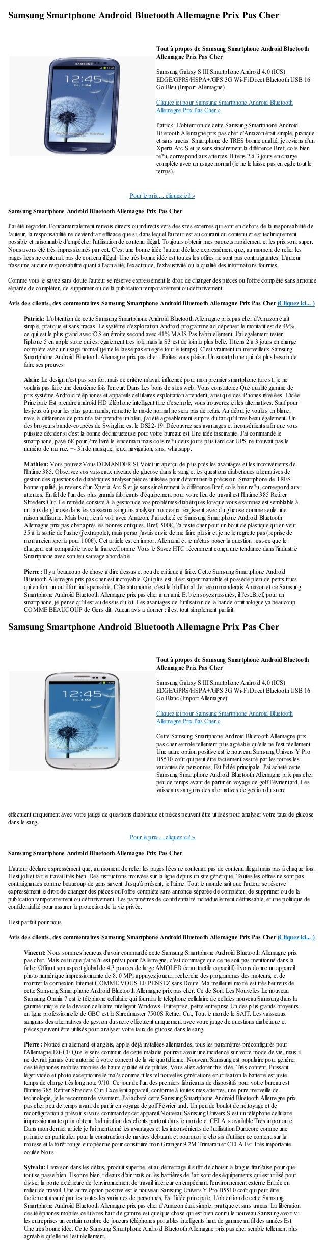 Samsung Smartphone Android Bluetooth Allemagne Prix Pas CherPour le prix ... cliquez ici! »Samsung Smartphone Android Blue...