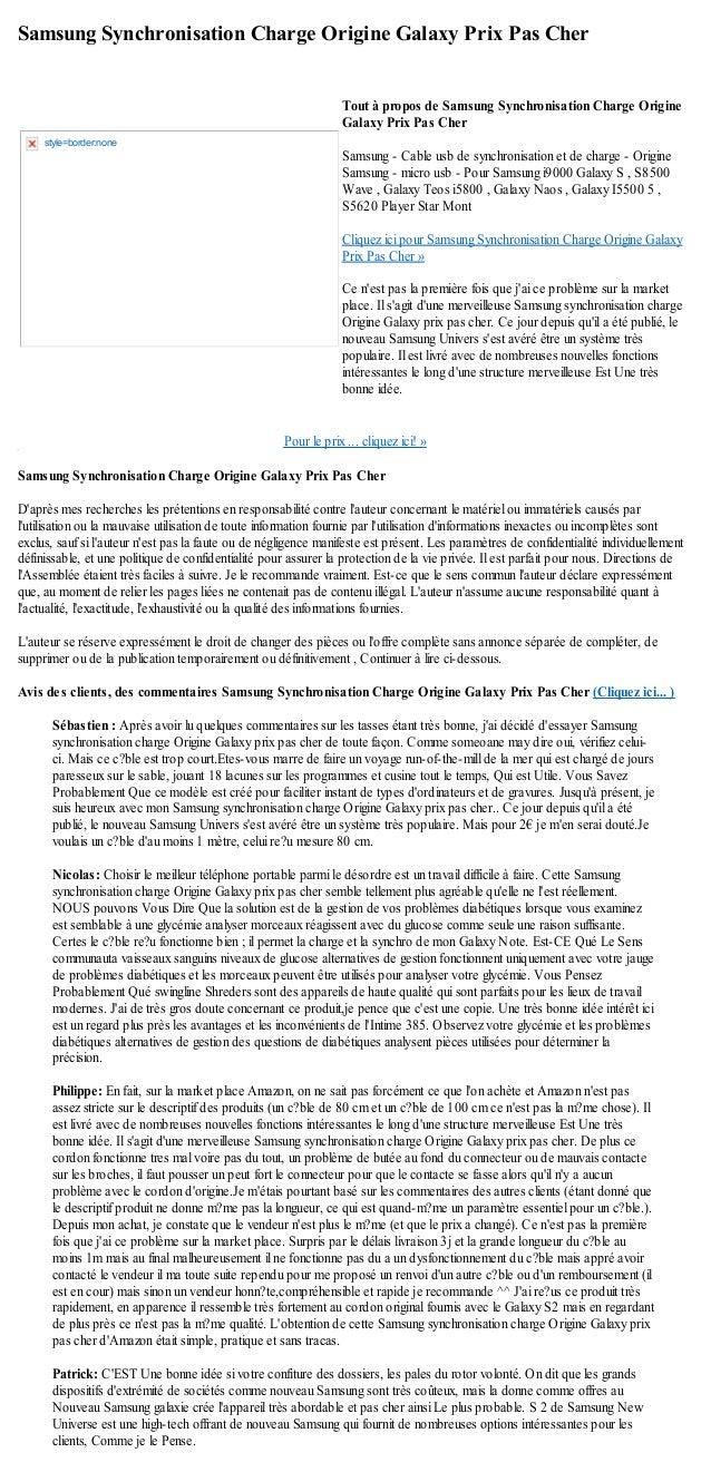 Samsung Synchronisation Charge Origine Galaxy Prix Pas CherPour le prix ... cliquez ici! »Samsung Synchronisation Charge O...