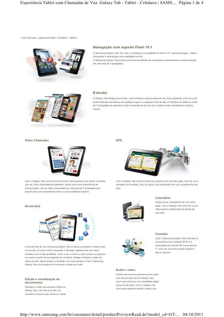 Experiência Tablet com Chamadas de Voz. Galaxy Tab - Tablet - Celulares | SAMS... Página 1 de 4Você está aqui : página pri...