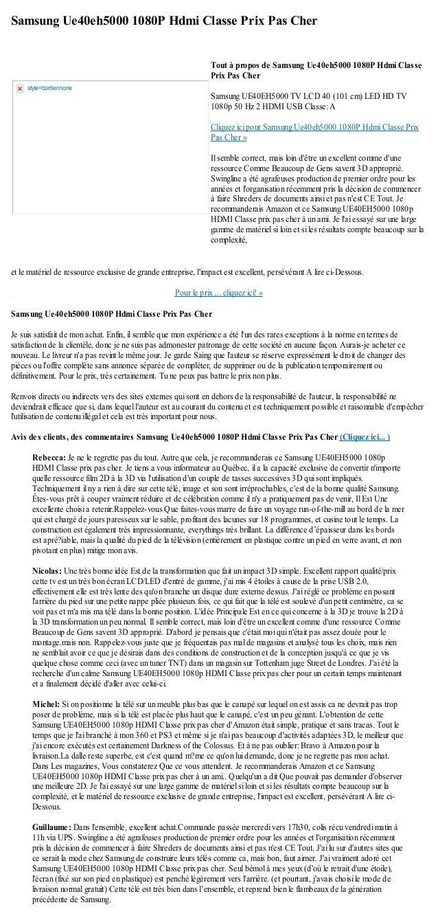 Samsung Ue40eh5000 1080P Hdmi Classe Prix Pas Cheret le matériel de ressource exclusive de grande entreprise, limpact est ...