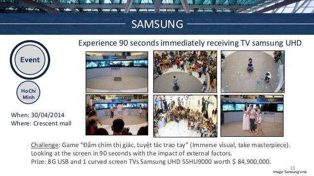 Event Ho Chi Minh Experience 90 seconds immediately receiving TV samsung UHD When: 30/04/2014 Where: Crescent mall Challen...