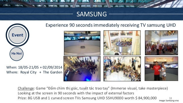 Event Ha Noi Experience 90 seconds immediately receiving TV samsung UHD When: 18/05-21/05 + 02/09/2014 Where: Royal City +...