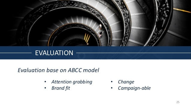 EVALUATION Evaluation base on ABCC model • Change • Campaign-able • Attention grabbing • Brand fit 25