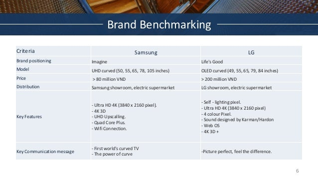 Brand Benchmarking Criteria Samsung LG Brand positioning Imagine Life's Good Model UHD curved (50, 55, 65, 78, 105 inches)...
