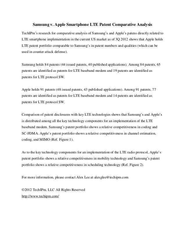 Samsung v. Apple Smartphone LTE Patent Comparative AnalysisTechIPm's research for comparative analysis of Samsung's and Ap...