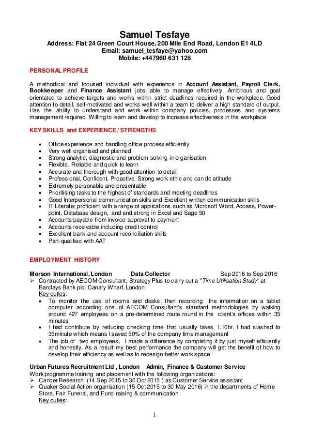 1 Samuel Tesfaye Address: Flat 24 Green Court House, 200 Mile End Road, ...  Financial Assistant Job Description