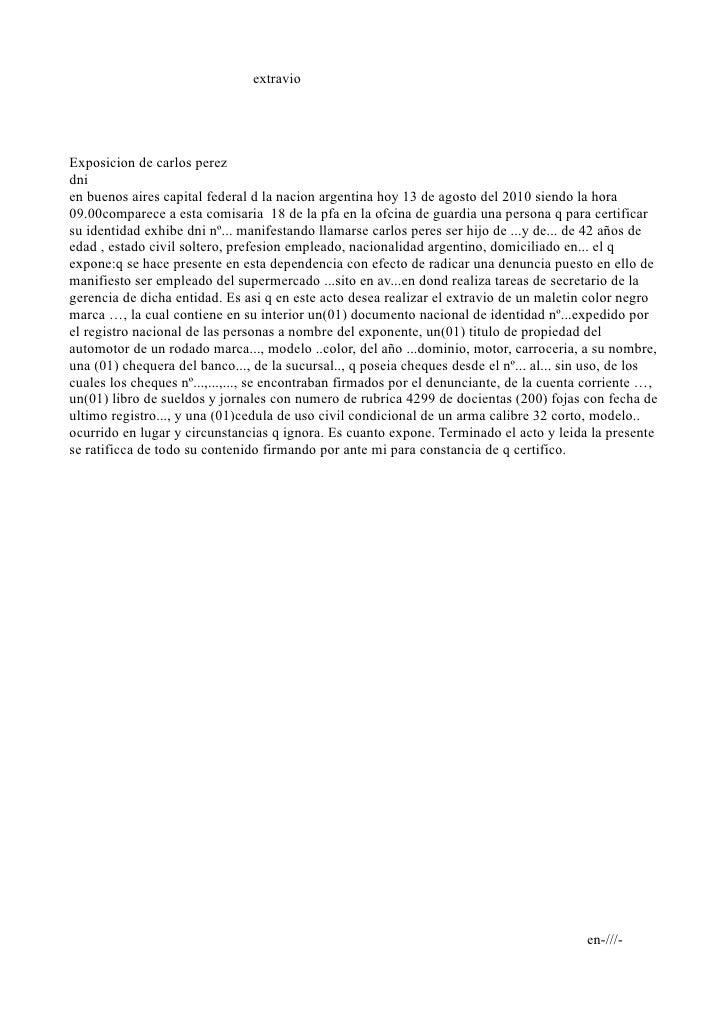 extravio     Exposicion de carlos perez dni en buenos aires capital federal d la nacion argentina hoy 13 de agosto del 201...
