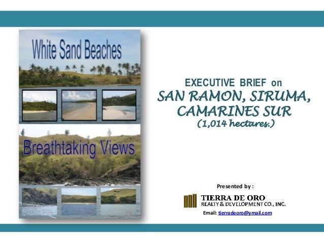EXECUTIVE BRIEF on  SAN RAMON, SIRUMA, CAMARINES SUR (1,014 hectares.)  Presented by :  Email: tierradeoro@ymail.com