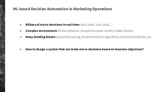 Decision Automation in Marketing Systems using Reinforcement Learning: Dynamics talks SF July 17th 2019 Slide 2