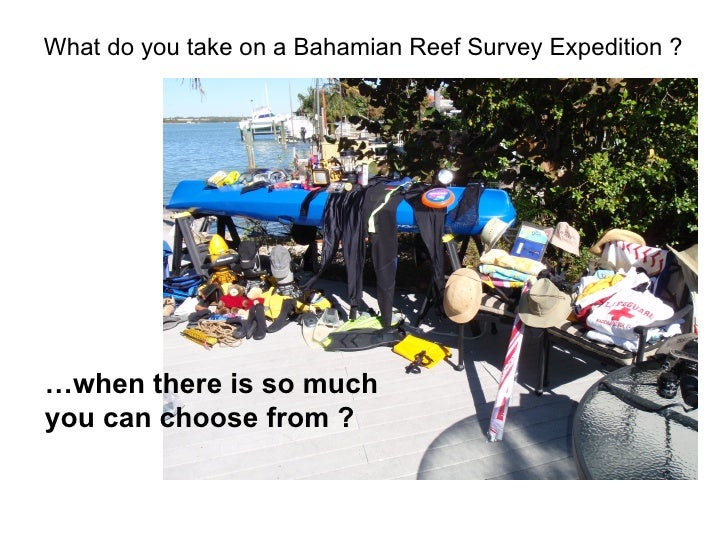What do you take on a Bahamian Reef Survey Expedition ?  … when there is so much  you can choose from ?
