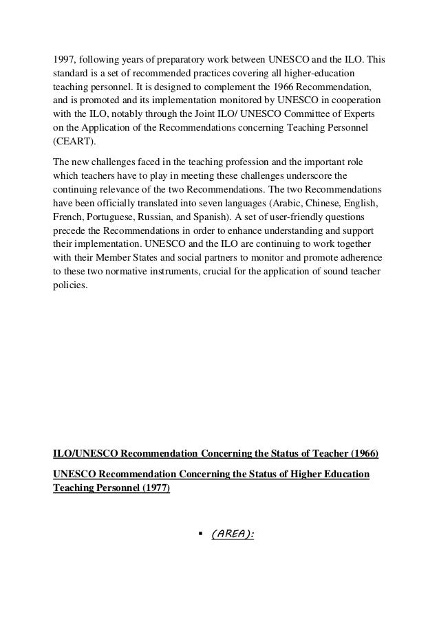 M.Ed Teacher Education Assignment Topic- Ilo Version Of Status Of Tea…