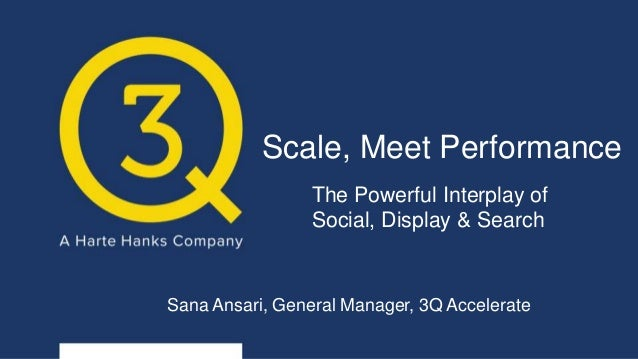 Scale, Meet Performance The Powerful Interplay of Social, Display & Search Sana Ansari, General Manager, 3Q Accelerate