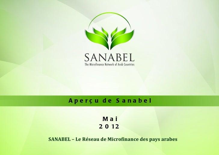 Ape rç u de S a na be l                     Mai                    2 0 12SANABEL – Le Réseau de Microfinance des pays arabes