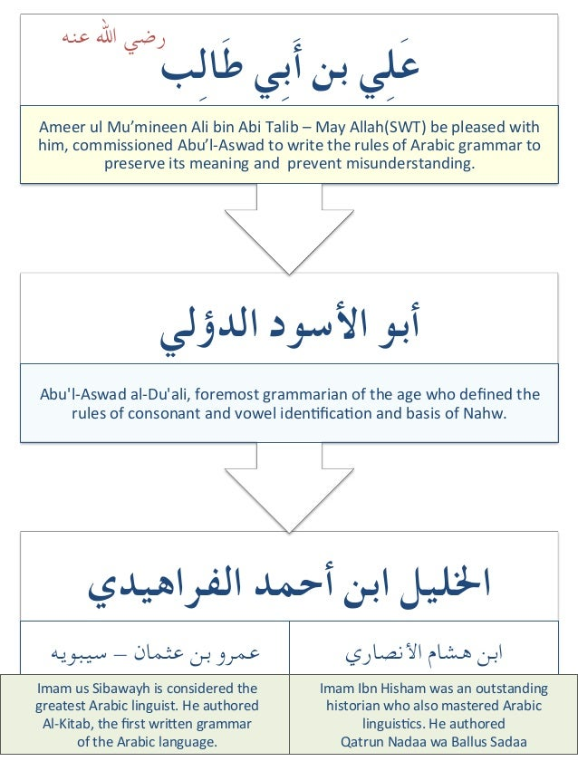 What is our chain of transmission (sanad) for Arabic grammar?