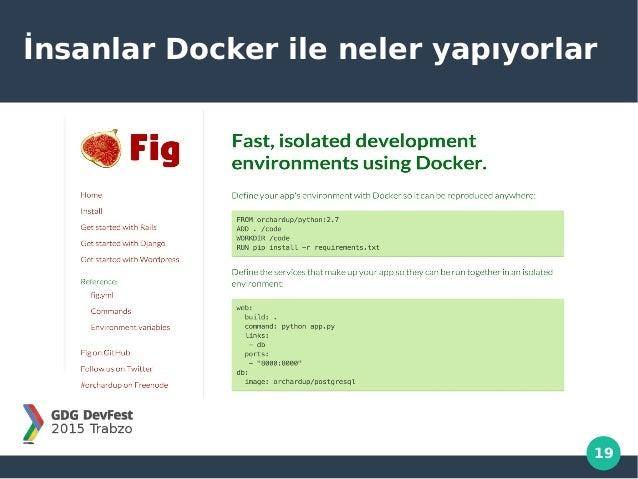 19 İnsanlar Docker ile neler yapıyorlar