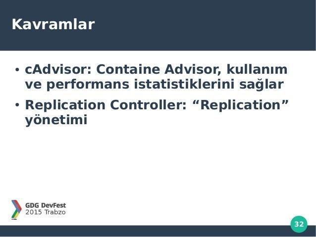 """32 Kavramlar ● cAdvisor: Containe Advisor, kullanım ve performans istatistiklerini sağlar ● Replication Controller: """"Repli..."""