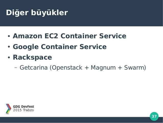 37 Diğer büyükler ● Amazon EC2 Container Service ● Google Container Service ● Rackspace – Getcarina (Openstack + Magnum + ...