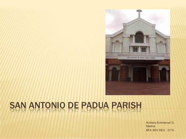 SAN ANTONIO DE PADUA PARISH                              Anthony Emmanuel D.                              Medina          ...
