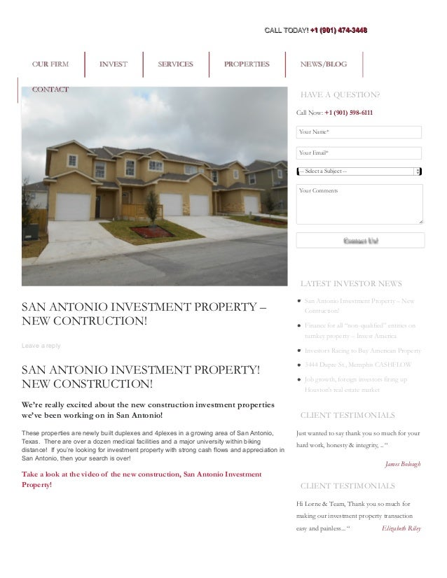 SAN ANTONIO INVESTMENT PROPERTY – NEW CONTRUCTION! Leave a reply SAN ANTONIO INVESTMENT PROPERTY! NEW CONSTRUCTION! We're ...