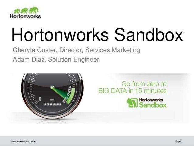© Hortonworks Inc. 2013Hortonworks SandboxCheryle Custer, Director, Services MarketingAdam Diaz, Solution EngineerPage 1
