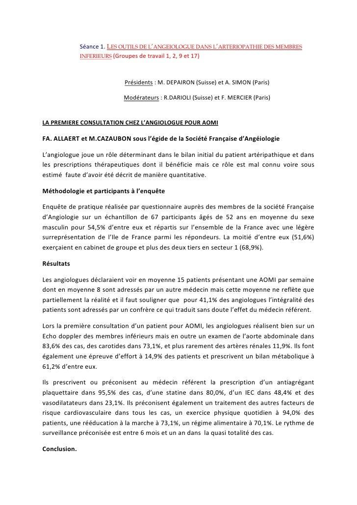 Séance 1. Les outils de l'angéiologue dans l'artériopathie des membres inférieurs (Groupes de travail 1, 2, 9 et 17)<br />...
