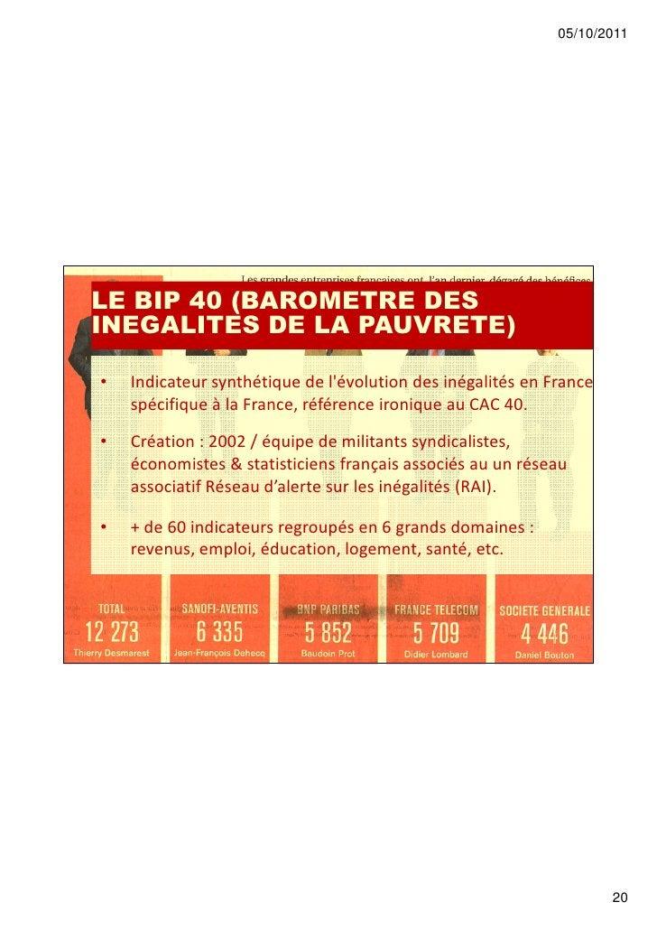 05/10/2011LE BIP 40 (BAROMETRE DESINEGALITES DE LA PAUVRETE)•   Indicateur synthétique de lévolution des inégalités en Fra...