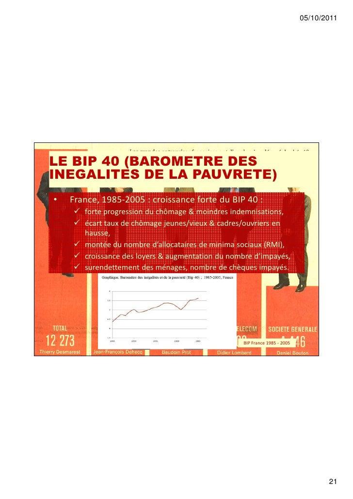 05/10/2011LE BIP 40 (BAROMETRE DESINEGALITES DE LA PAUVRETE)•   France, 1985-2005 : croissance forte du BIP 40 :       for...