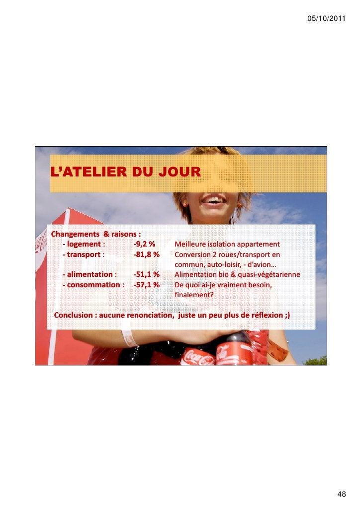 05/10/2011L'ATELIER DU JOURChangements & raisons :• - logement :      -9,2 %         Meilleure isolation appartement• - tr...