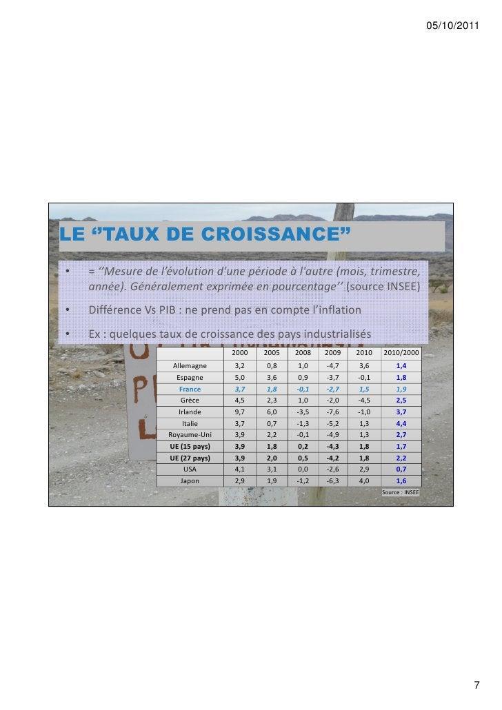 05/10/2011LE ''TAUX DE CROISSANCE''•   = ''Mesure de l'évolution dune période à lautre (mois, trimestre,    année). Généra...