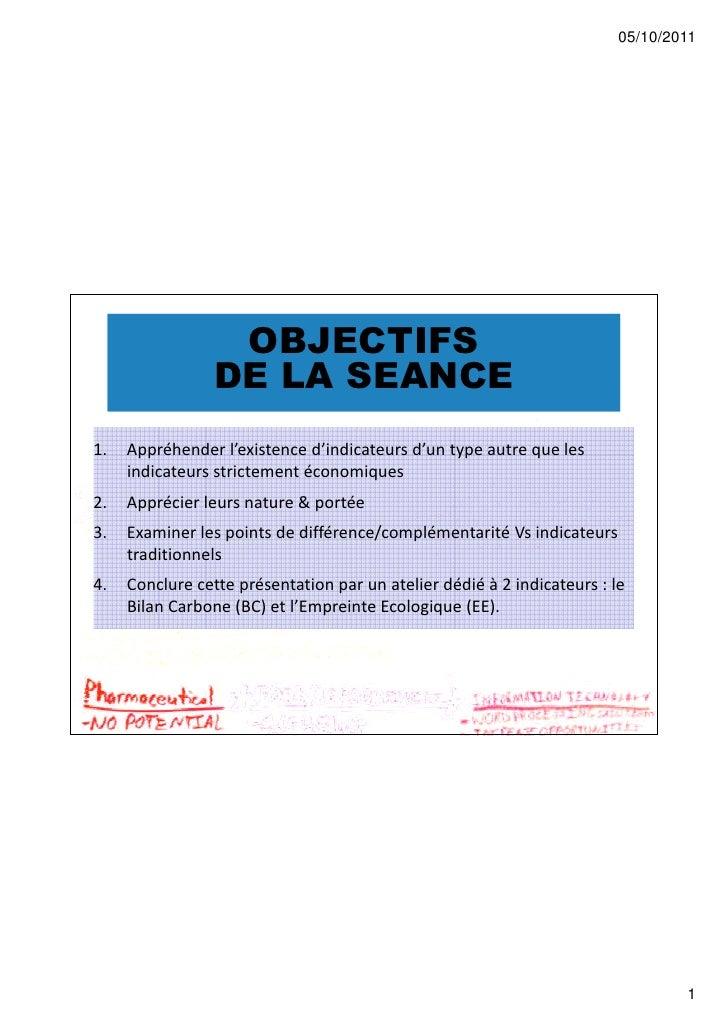 05/10/2011                  OBJECTIFS                 DE LA SEANCE1.   Appréhender l'existence d'indicateurs d'un type aut...