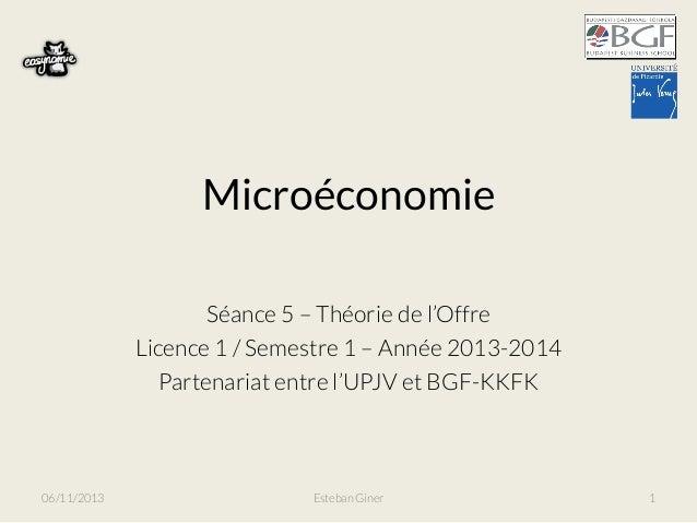Microéconomie Séance 5 – Théorie de l'Offre Licence 1 / Semestre 1 – Année 2013-2014 Partenariat entre l'UPJV et BGF-KKFK ...