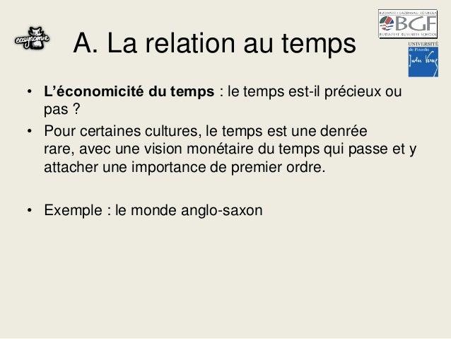 A. La relation au temps • L'économicité du temps : le temps est-il précieux ou pas ? • Pour certaines cultures, le temps e...