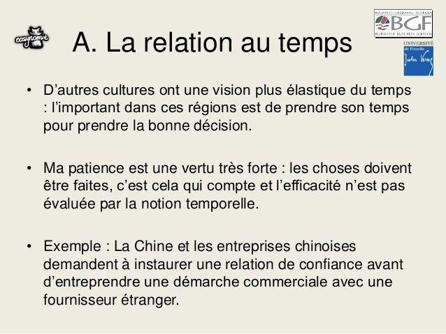 A. La relation au temps • D'autres cultures ont une vision plus élastique du temps : l'important dans ces régions est de p...