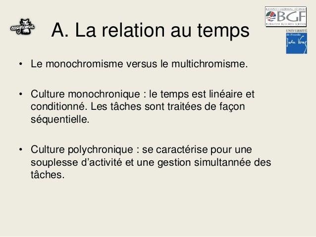 A. La relation au temps • Le monochromisme versus le multichromisme. • Culture monochronique : le temps est linéaire et co...