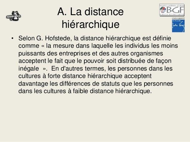 A. La distance hiérarchique • Selon G. Hofstede, la distance hiérarchique est définie comme « la mesure dans laquelle les ...