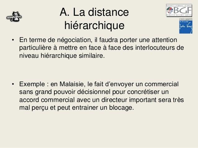 A. La distance hiérarchique • En terme de négociation, il faudra porter une attention particulière à mettre en face à face...