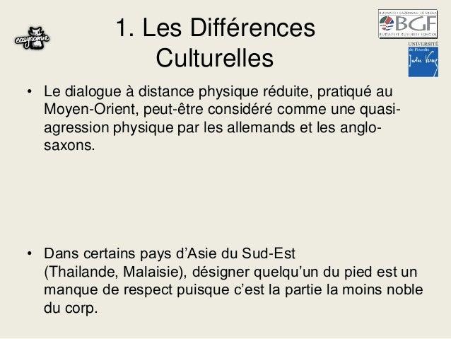 1. Les Différences Culturelles • Le dialogue à distance physique réduite, pratiqué au Moyen-Orient, peut-être considéré co...
