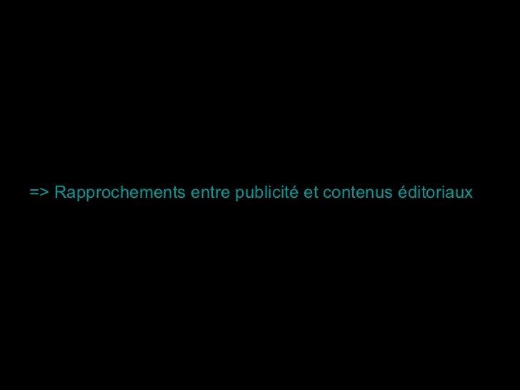 => Rapprochements entre publicité et contenus éditoriaux