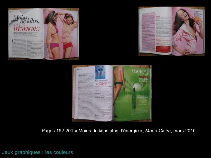 Pages 192-201 «Moins de kilos plus d'énergie»,  Marie-Claire , mars 2010 Jeux graphiques : les couleurs