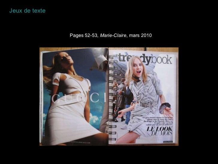 Pages 52-53 , Marie-Claire , mars 2010 Jeux de texte