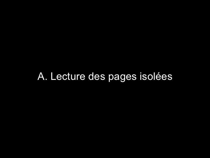A. Lecture des pages isolées