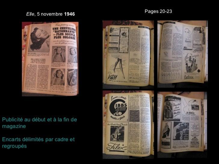 Elle , 5 novembre  1946 Page 2, Publicité  Roja Pages 20-23 Publicité au début et à la fin de magazine Encarts délimités p...