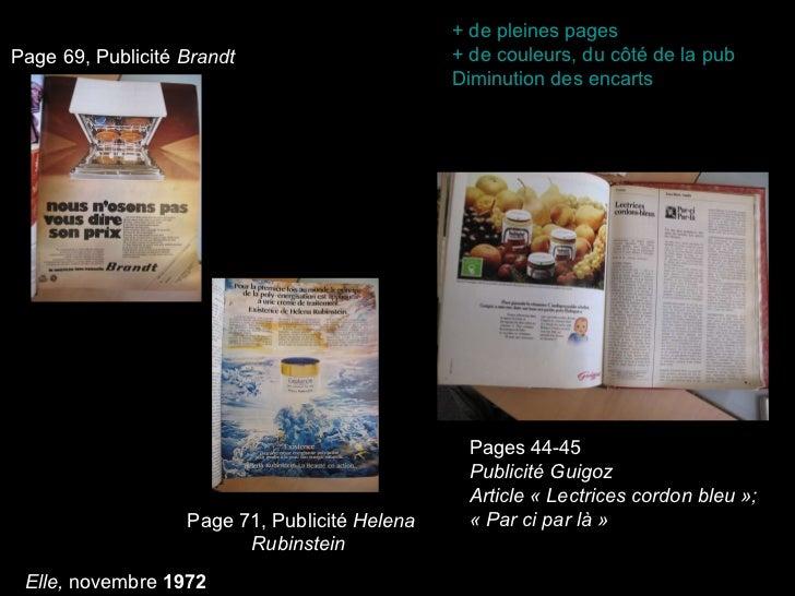 Page 69, Publicité  Brandt Page 71, Publicité  Helena Rubinstein   Pages 44-45 Publicité Guigoz Article «Lectrices cordon...