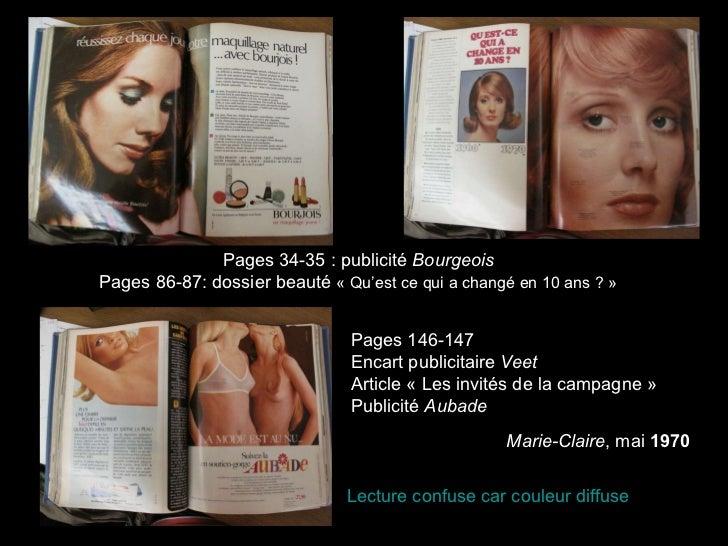 Pages 34-35 : publicité  Bourgeois Pages 86-87: dossier beauté  «Qu'est ce qui a changé en 10 ans ?» Pages 146-147 Encar...