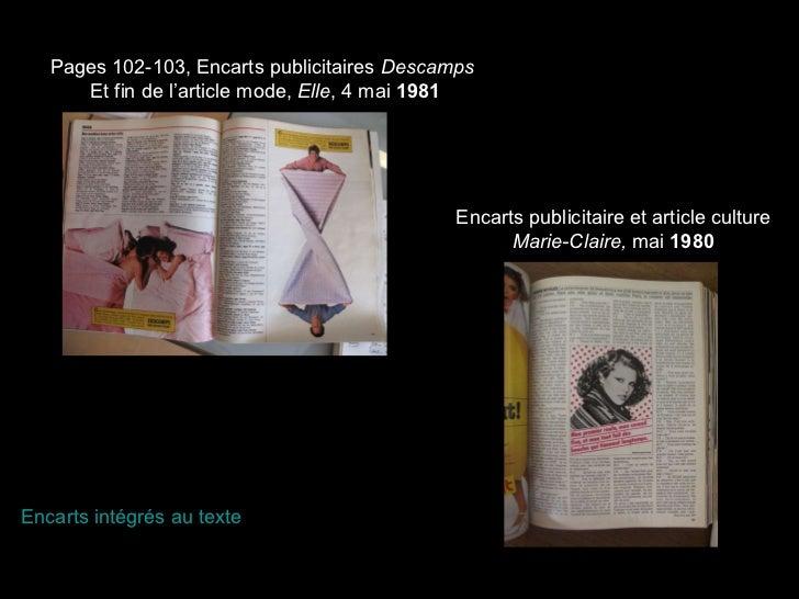 Pages 102-103, Encarts publicitaires  Descamps  Et fin de l'article mode,  Elle , 4 mai  1981 Encarts publicitaire et arti...